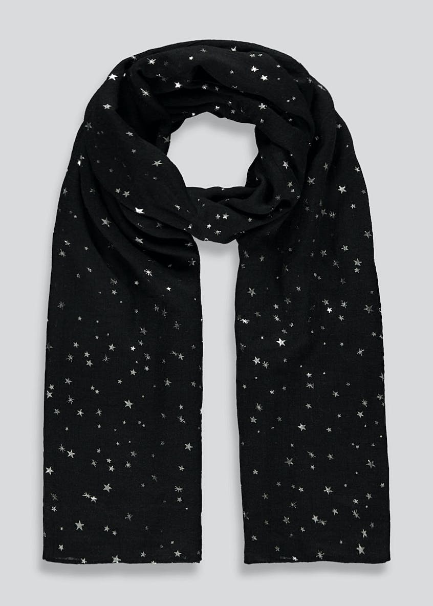 Star Foil Print Woven Scarf
