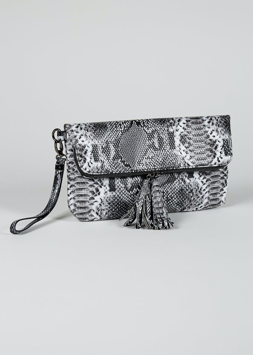 Faux Snakeskin Foldover Clutch Bag