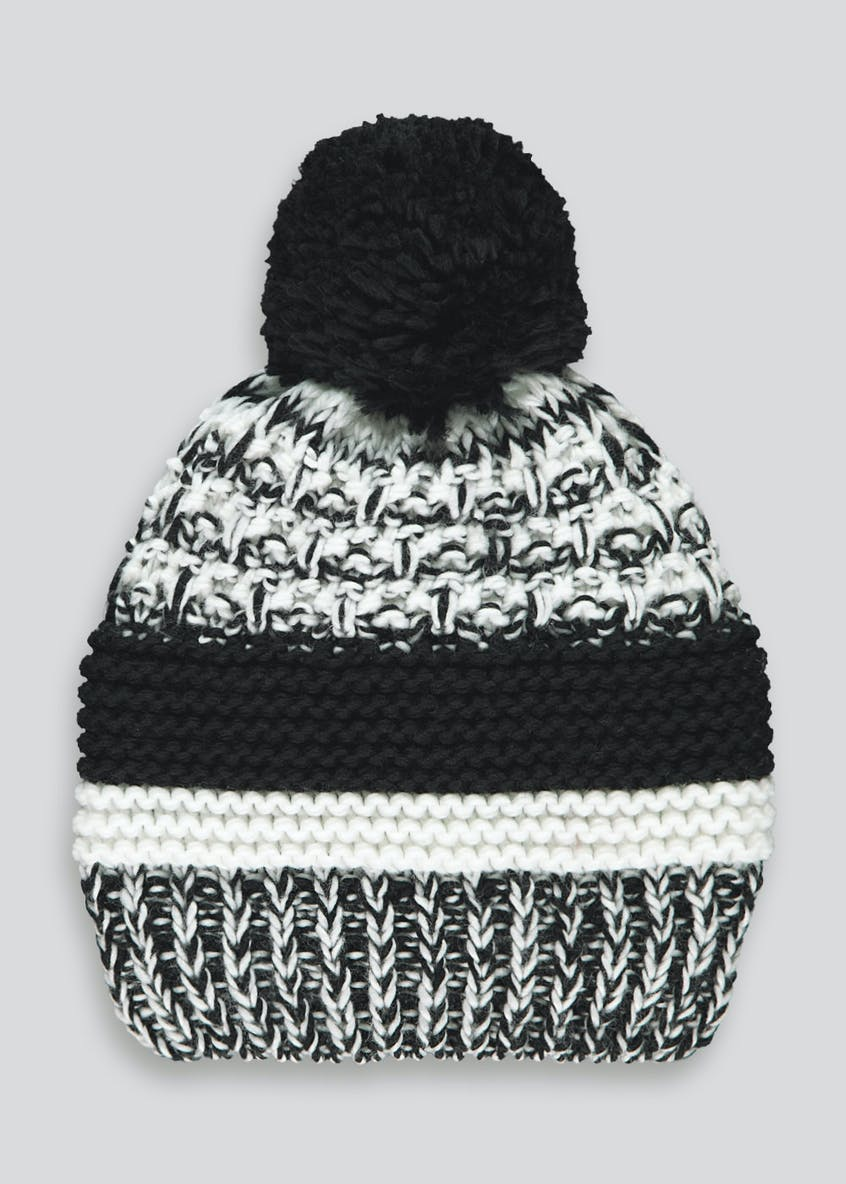 Monochrome Knitted Bobble Hat