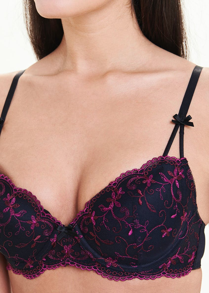 2 Pack Embroidered Lace Bras