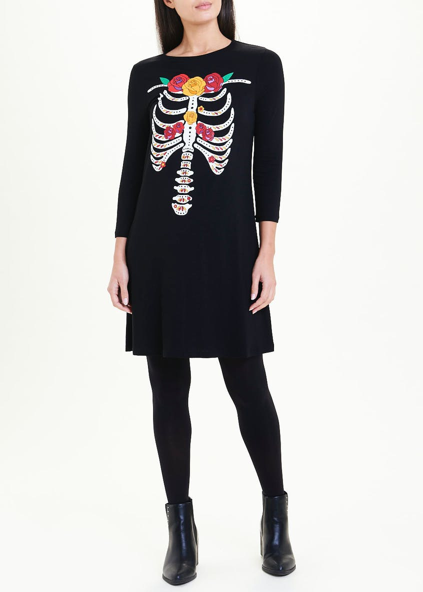 Black 3/4 Sleeve Floral Skeleton Halloween Swing Dress