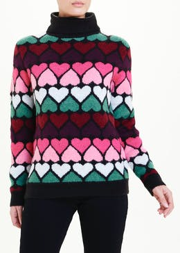Roll Neck Heart Print Jumper