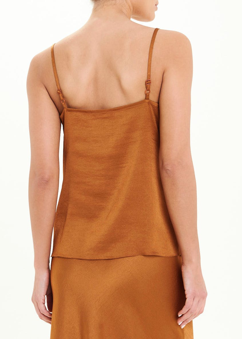 Rust Lace Trim Silky Cami Top