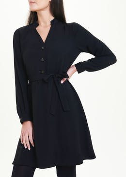 Black Long Sleeve Frill Neck Shirt Dress