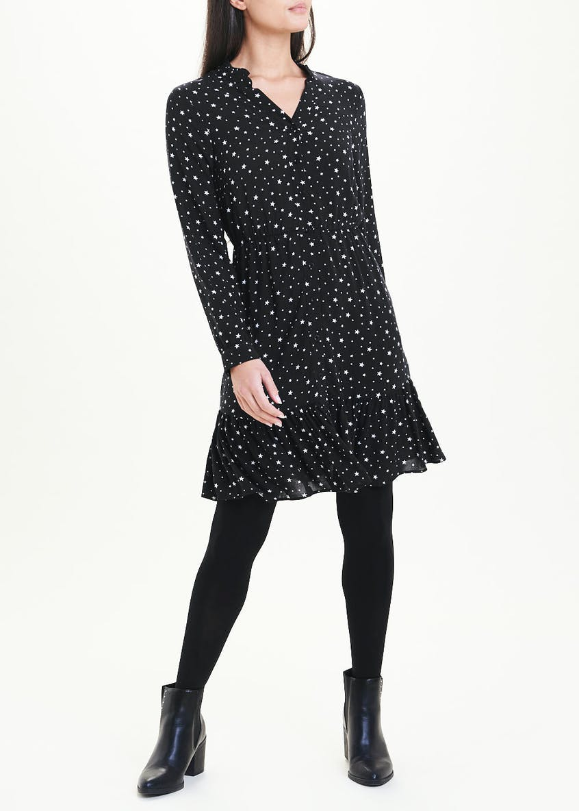 Black Long Sleeve Star Print Shirt Dress