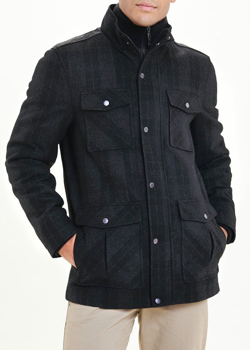 Lincoln Wool Blend Check Coat