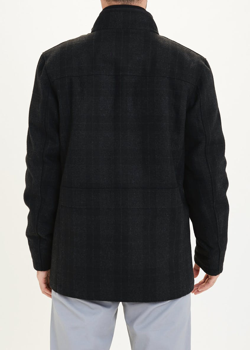 Lincoln Charcoal Wool Blend Check Coat