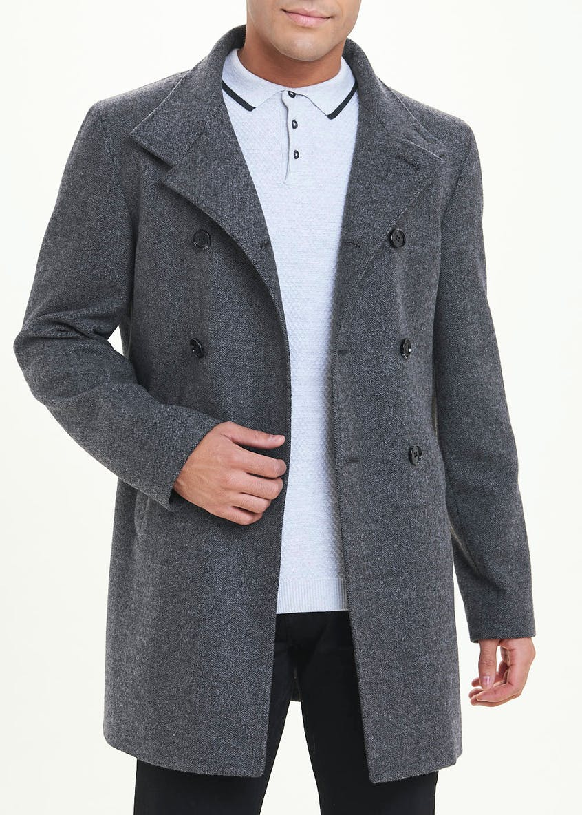 Grey Funnel Neck Formal Coat