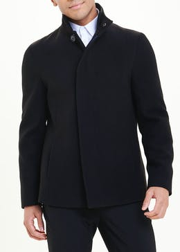 Easy Black Label Black Funnel Neck Overcoat