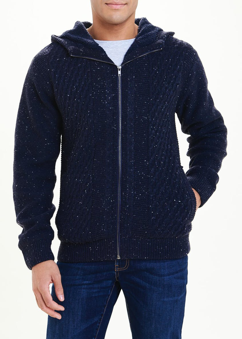 Borg Lined Zip Through Knit Hoodie