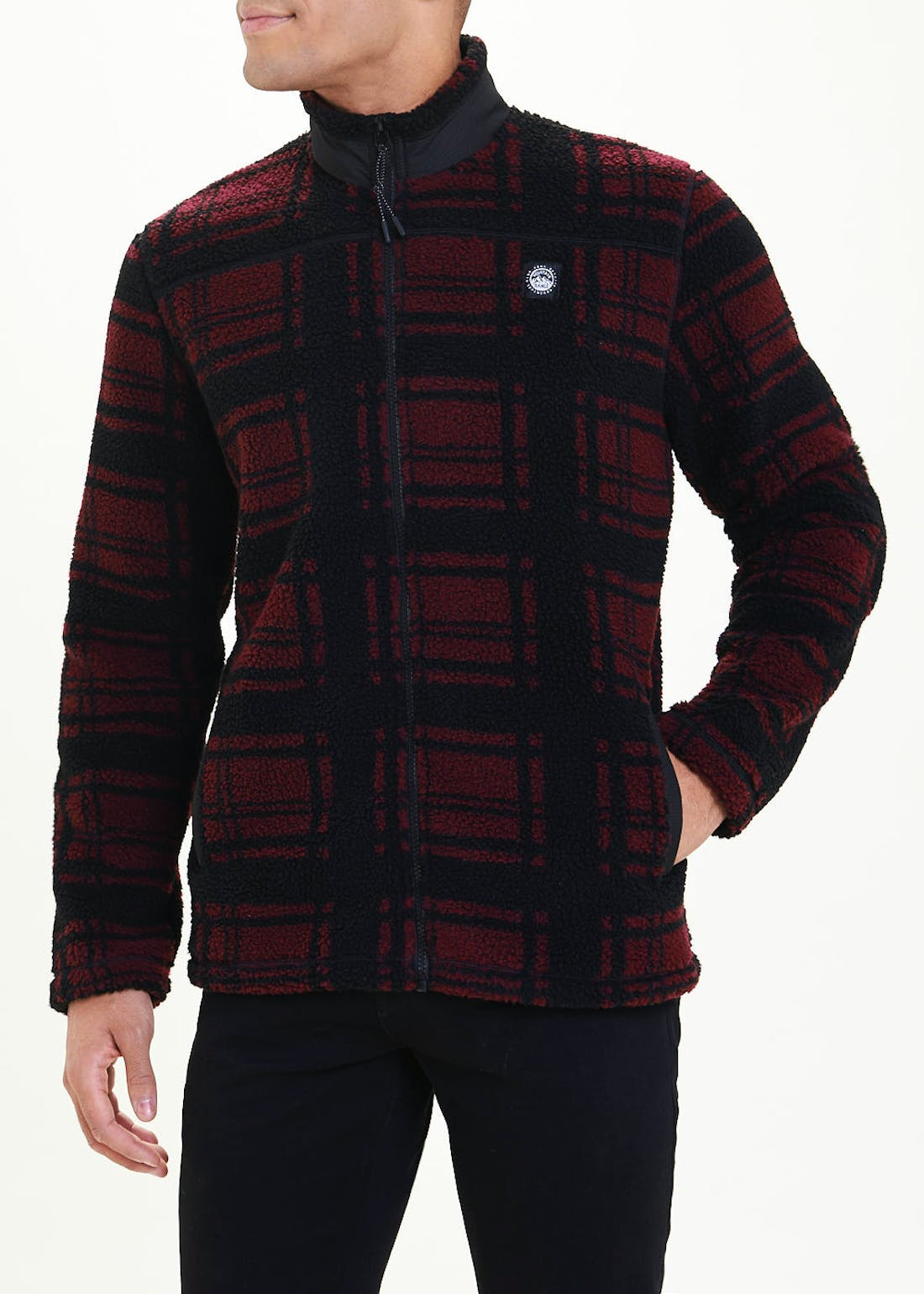 Burgundy Check Zip Through Fleece