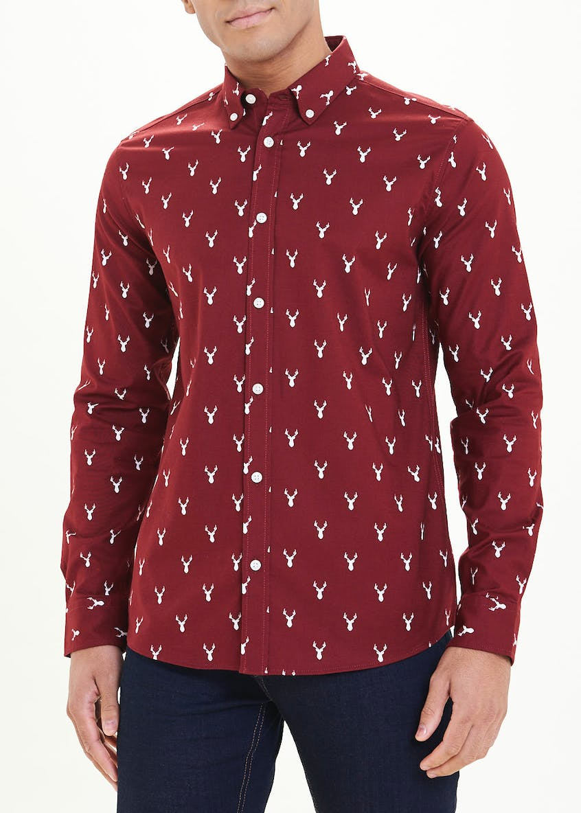 Reindeer Christmas Print Long Sleeve Shirt