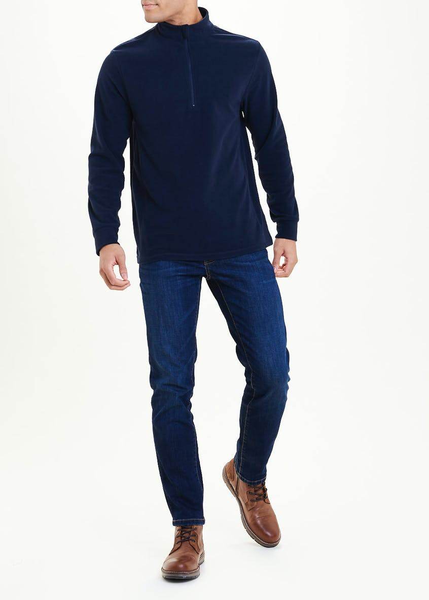 Navy Half Zip Microfleece Top