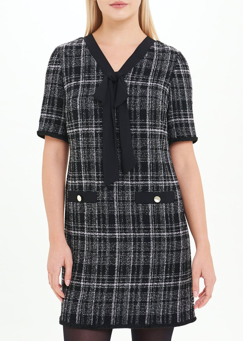 Black Short Sleeve Check Boucle Dress