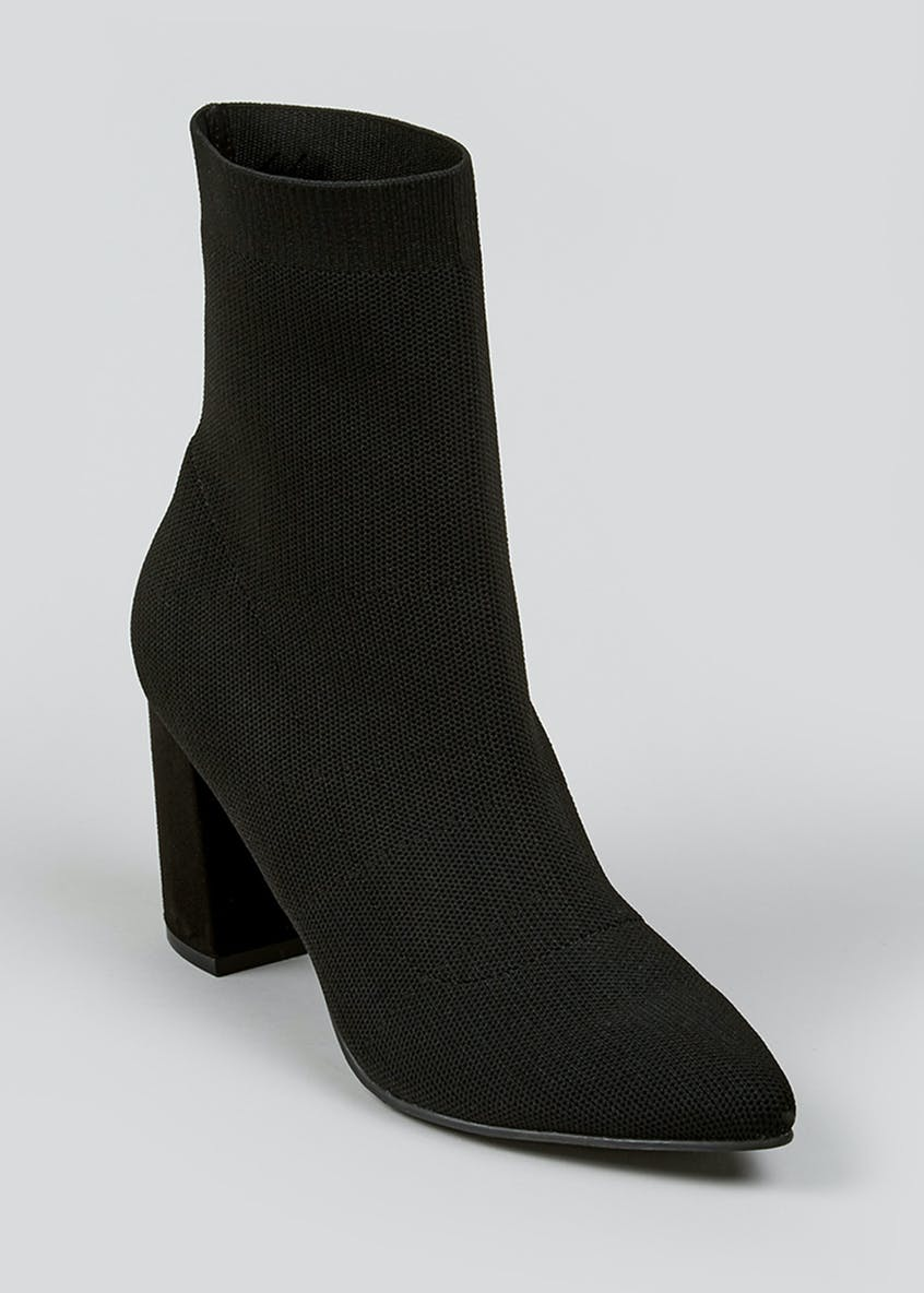 Black Knitted Shoe Boots