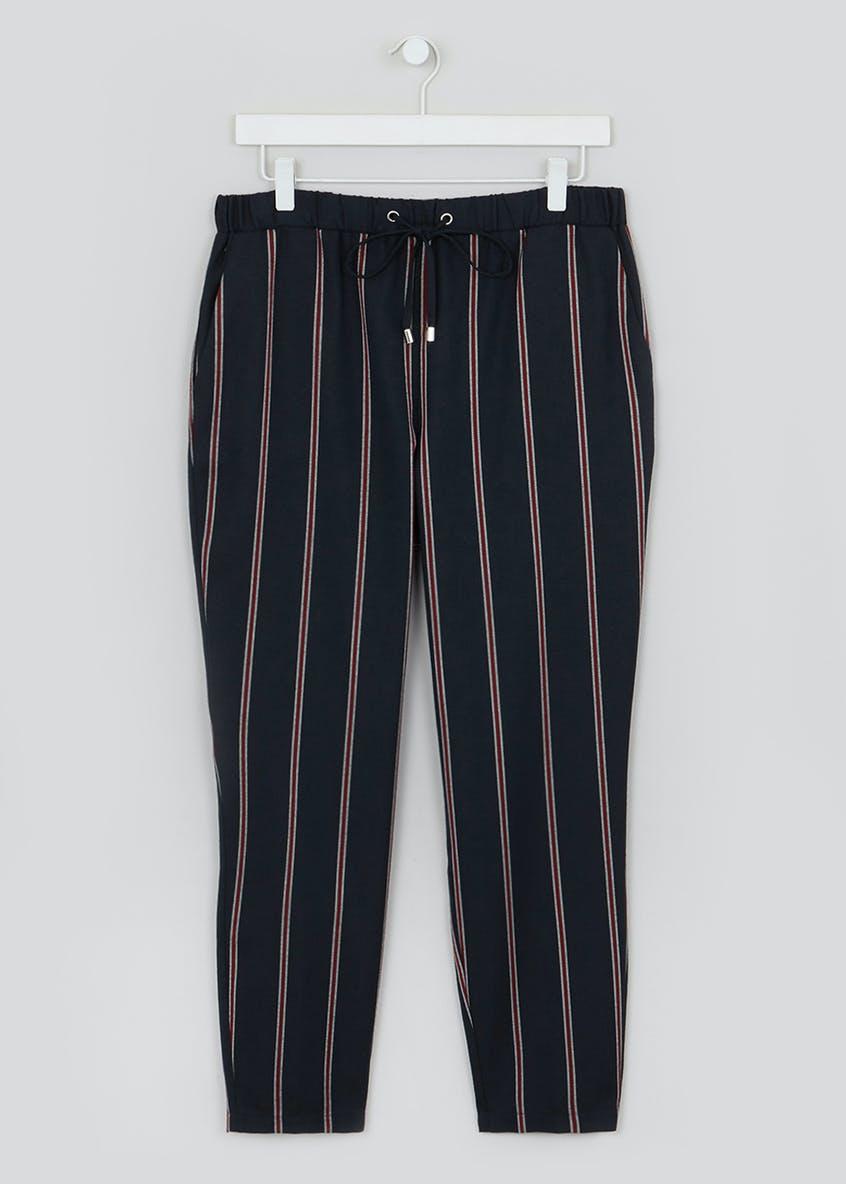 Stripe Drawstring Tapered Trousers