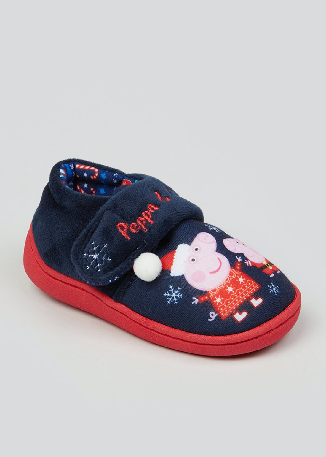 Kids Peppa Pig Navy Co-Ord Christmas Slippers (Younger 4-12)