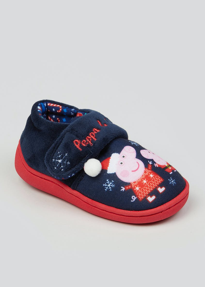 Kids Peppa Pig Co-Ord Christmas Slippers (Younger 4-12)