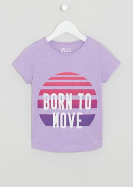 Girls Souluxe Purple Born To Move Slogan T-Shirt (4-13yrs)