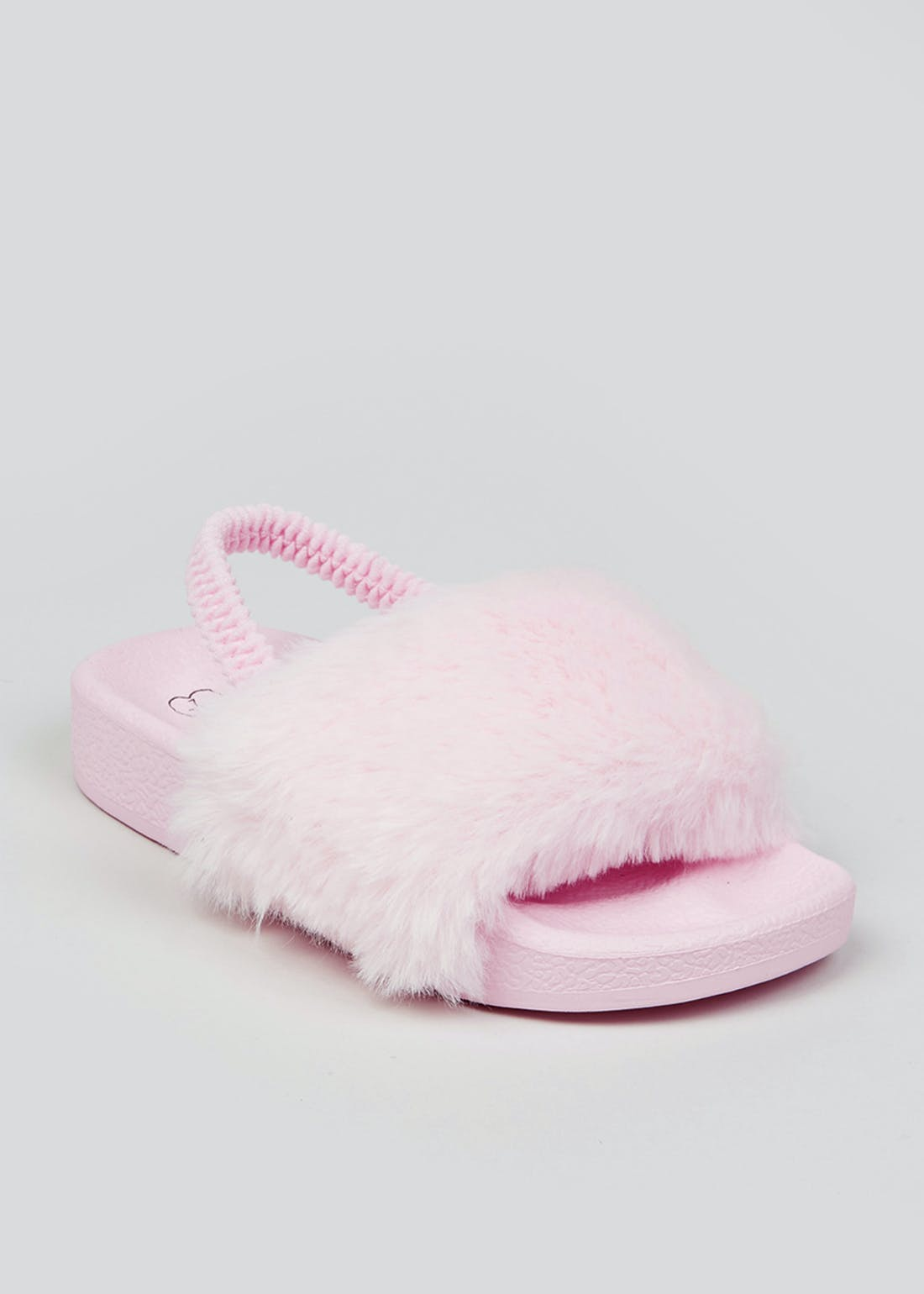 Girls Pink Fluffy Sliders (Younger 4-9)