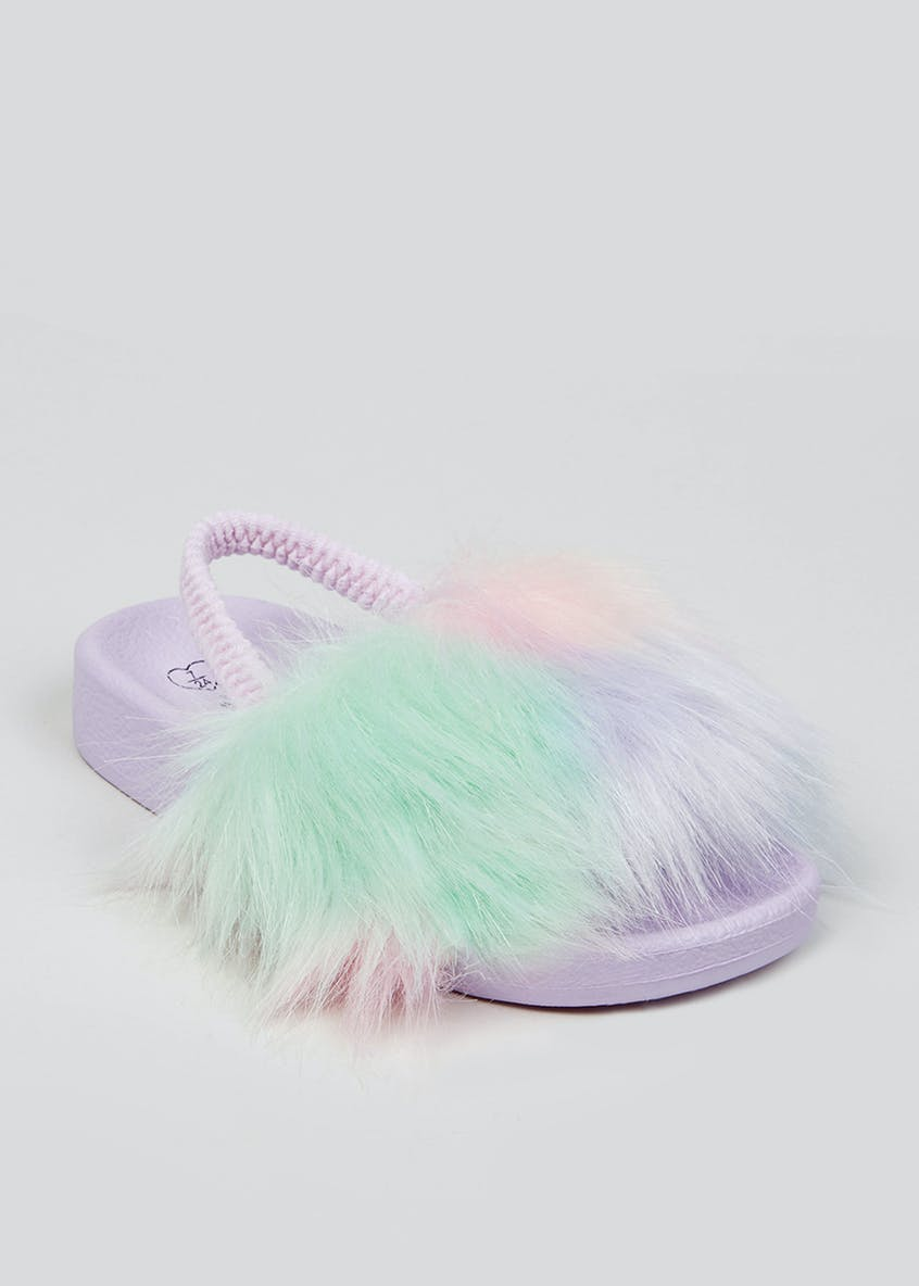 Girls Purple Faux Fur Sliders (Younger 4-9)