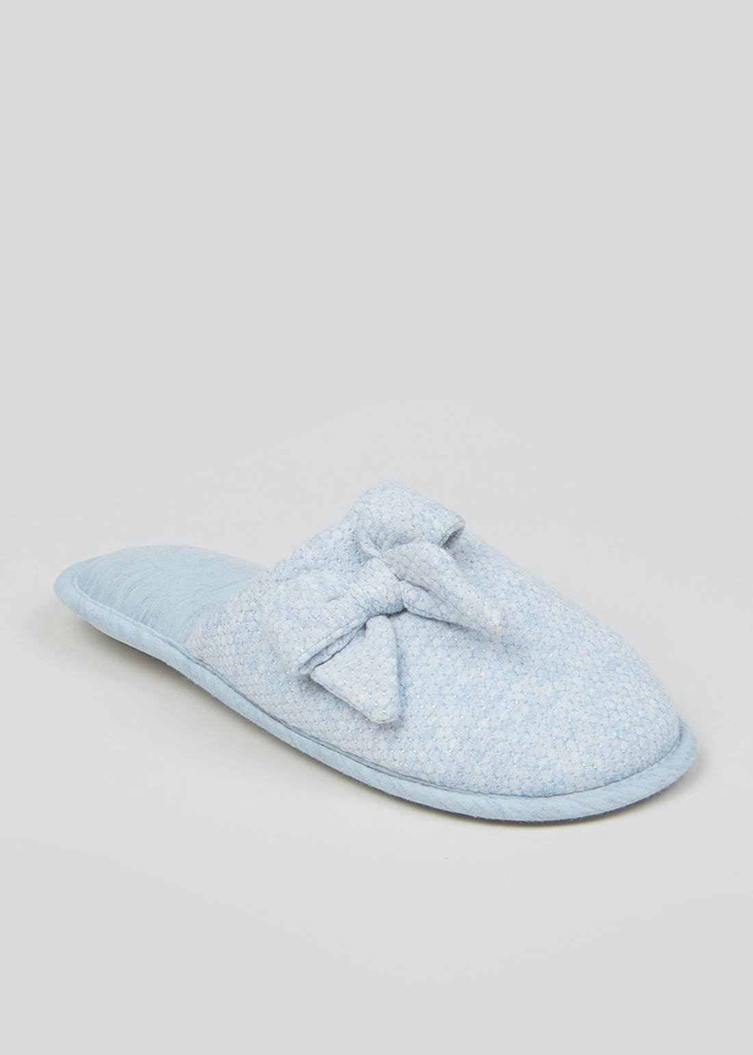 Blue Bow Mule Slippers
