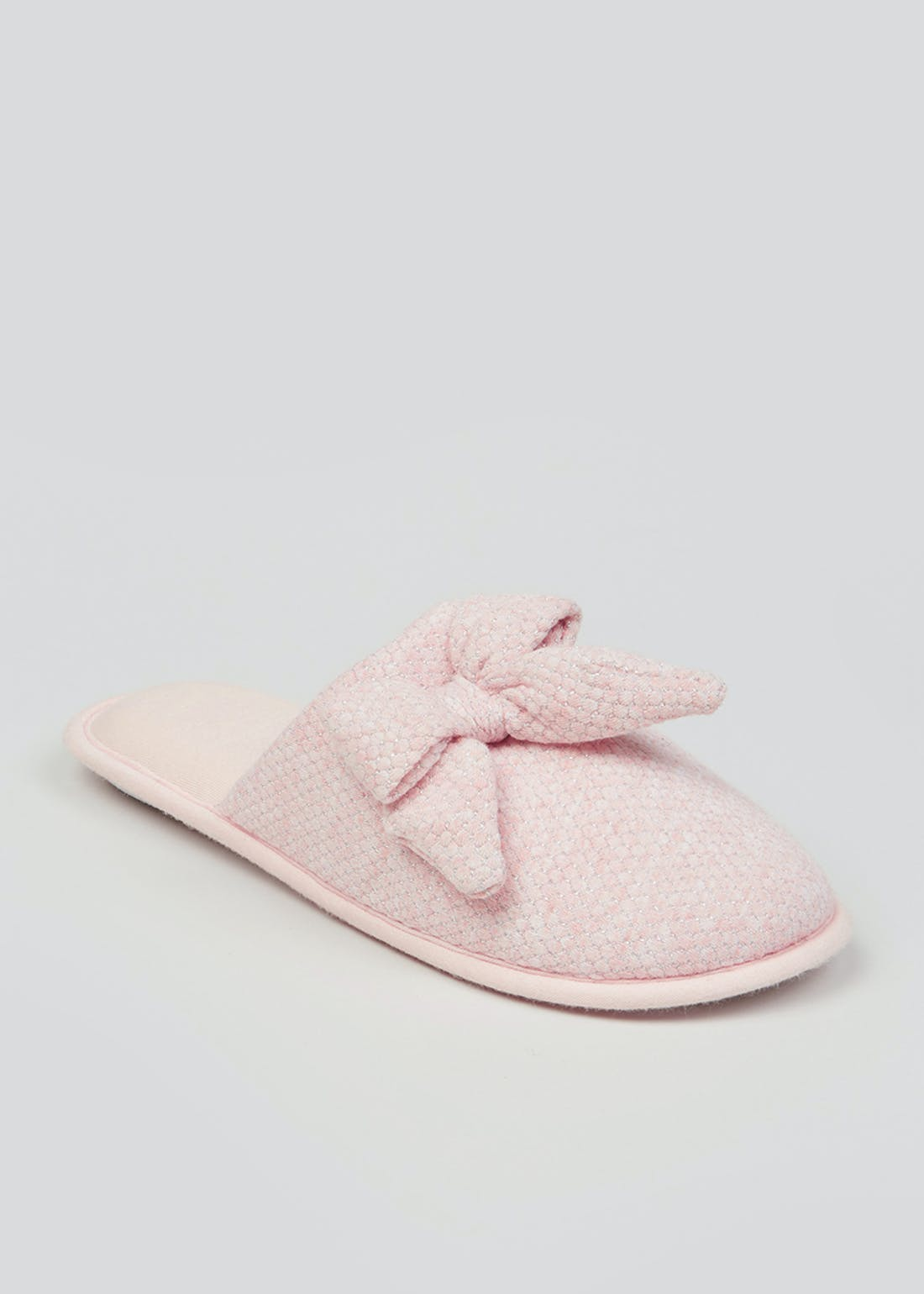 Pink Bow Mule Slippers