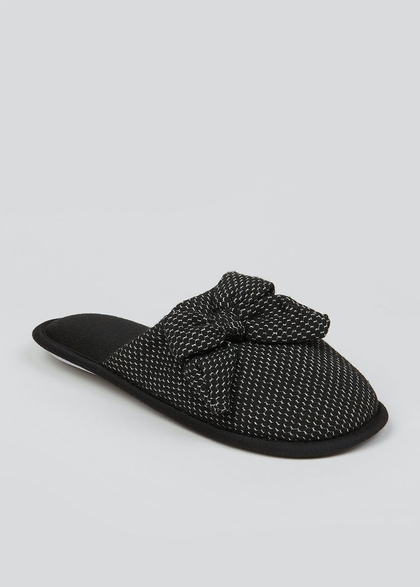 Black Bow Mule Slippers