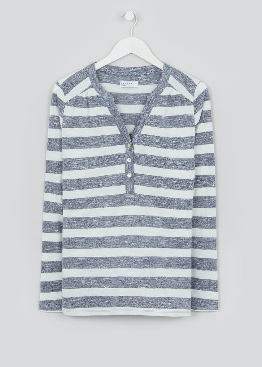 Long Sleeve Stripe Henley Top