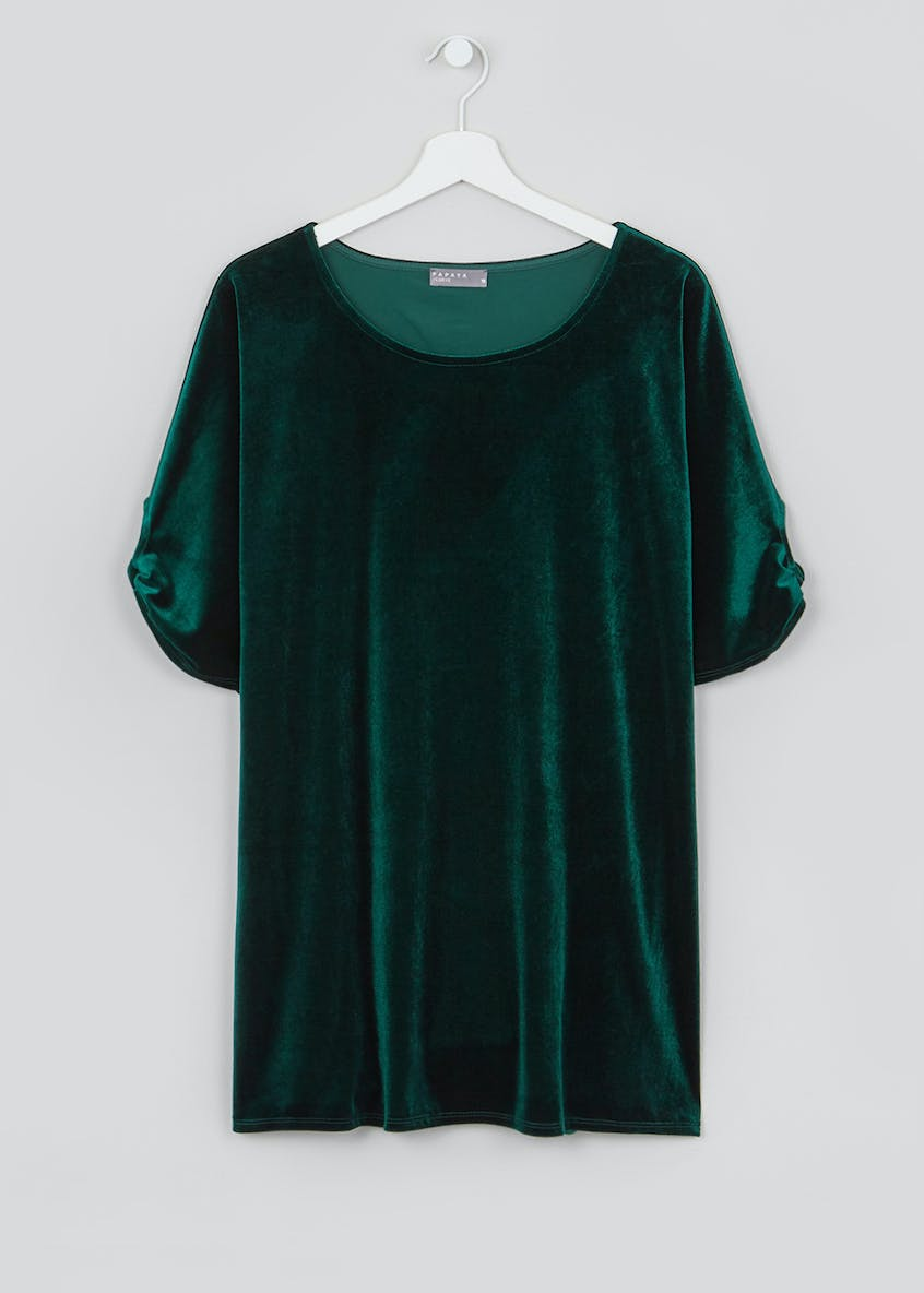 Papaya Curve Longline Velvet Top