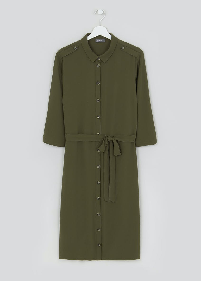 Papaya Curve Khaki 3/4 Sleeve Utility Shirt Dress