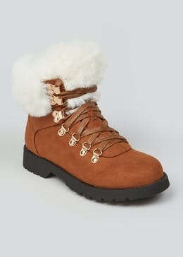 Girls Faux Fur Trim Hiker Boots (Younger 10-Older 5)