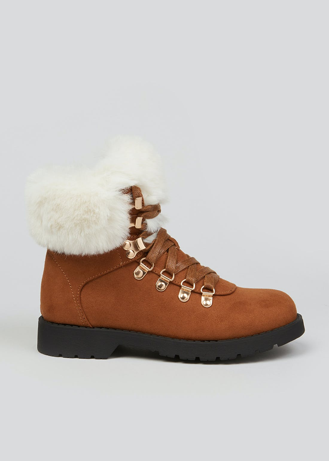 Girls Tan Faux Fur Hiker Boots (Younger 10-Older 5)