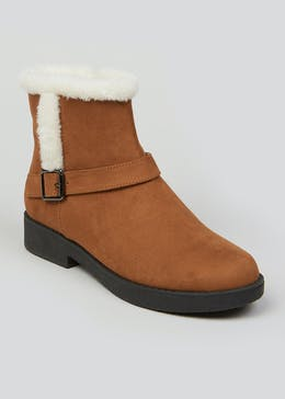 Tan Faux Fur Biker Boots
