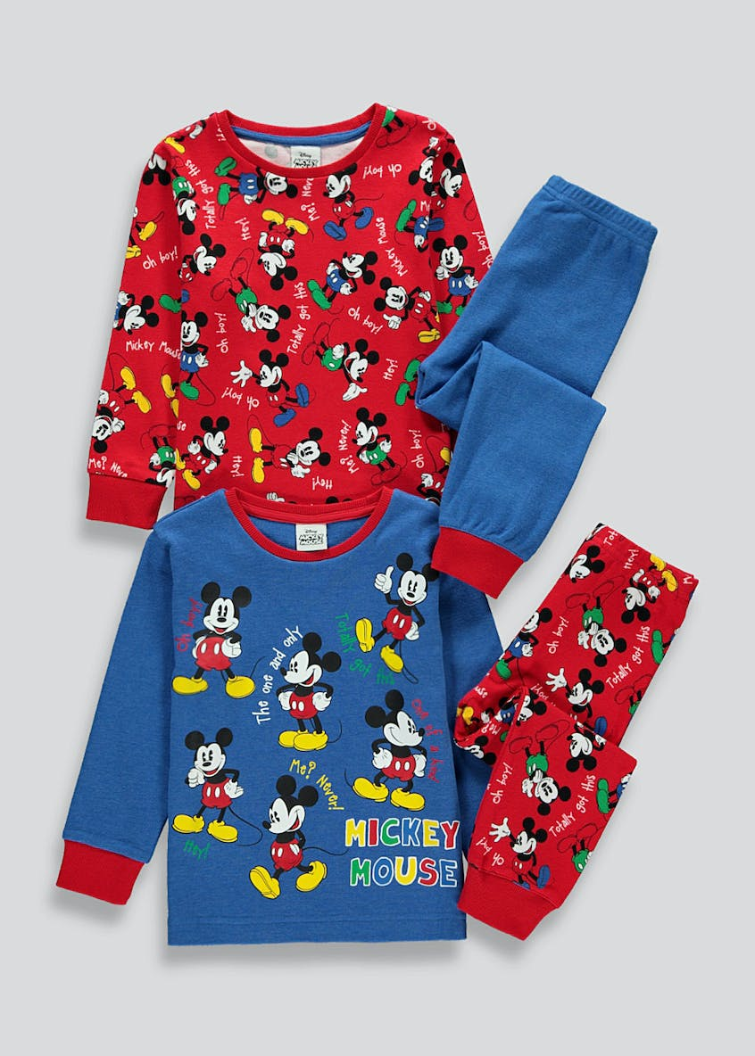 Kids 2 Pack Mickey Mouse Pyjamas (9mths-6yrs)