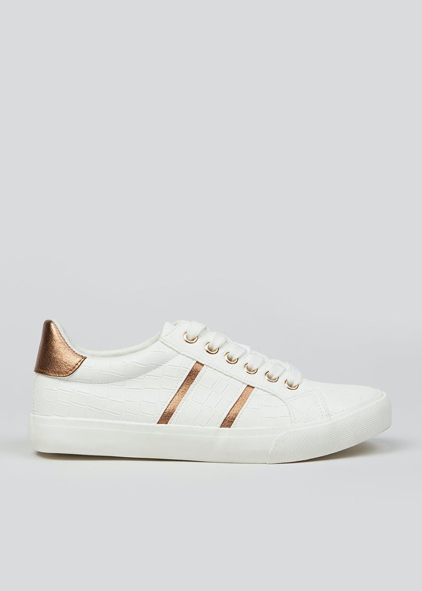 White Lace Up Stripe Trainers