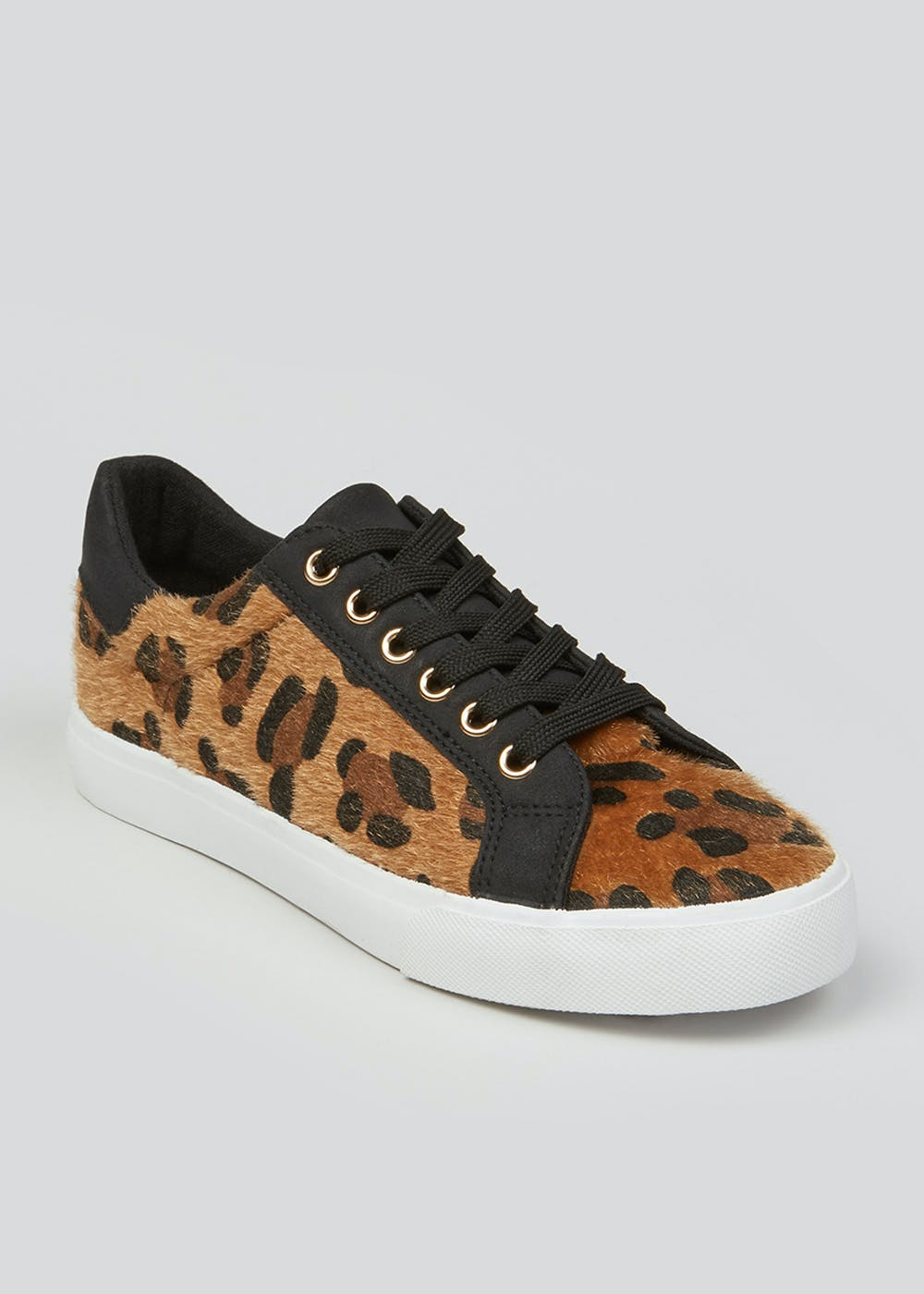 Leopard Print Lace Up Trainers – Brown