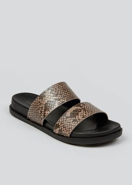 Brown Snake Print Double Strap Sandals