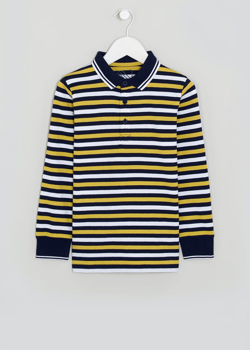 Boys Long Sleeve Stripe Polo Shirt (4-13yrs)