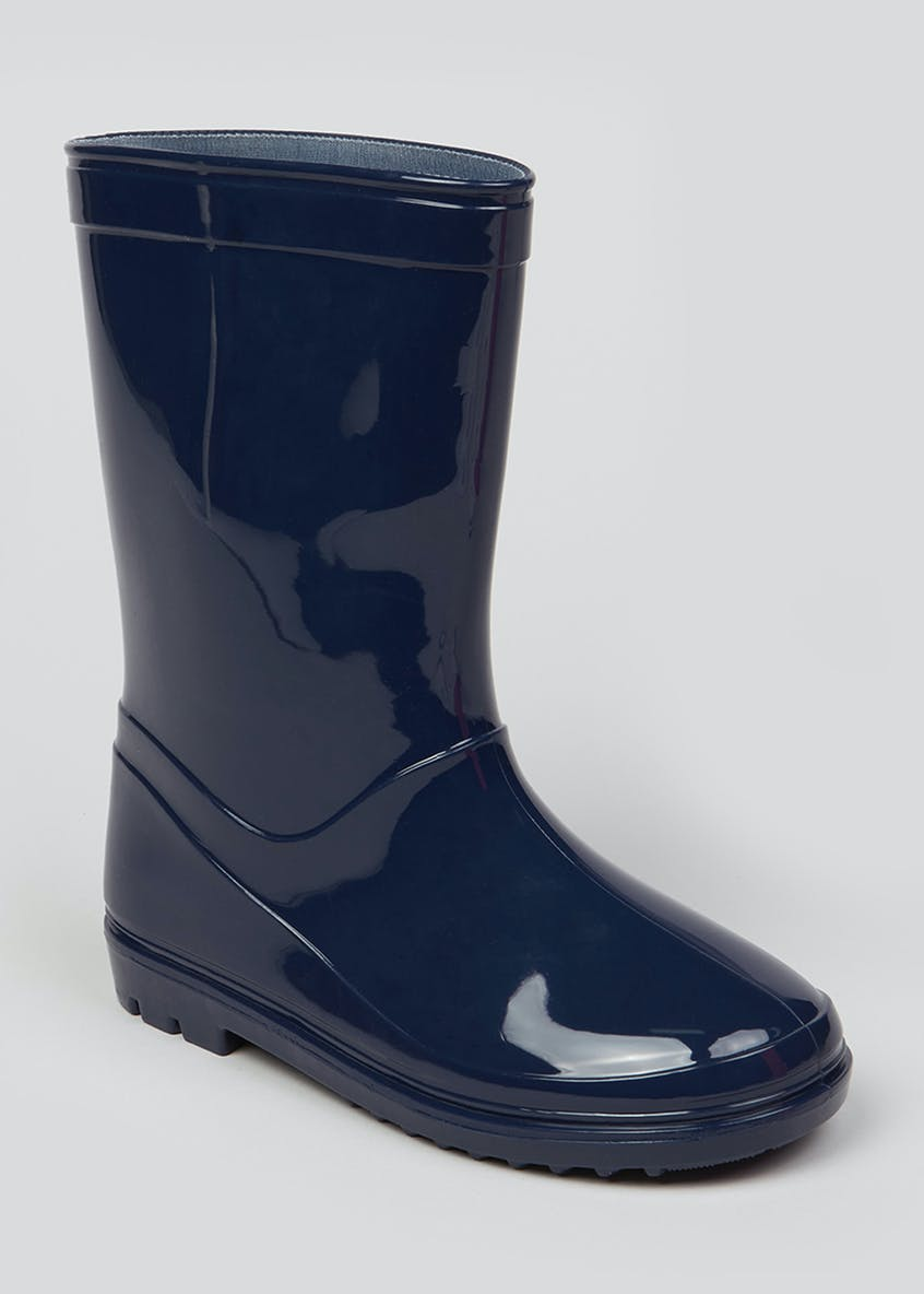 Boys Navy Patent Wellies (Younger 10-Older 6)