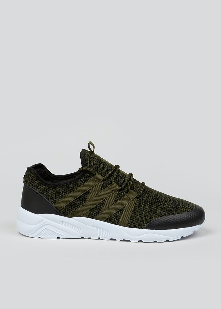 Souluxe Khaki Knitted Trainers