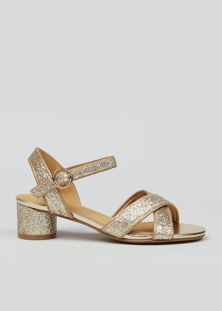 Girls Gold Heeled Sandals (Younger 13-Older 5)