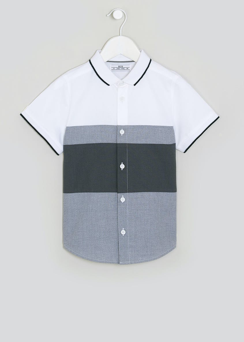Boys Short Sleeve Panel Shirt (4-13yrs)