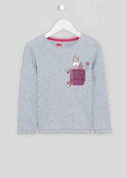 Girls Long Sleeve Unicorn Sequin T-Shirt (4-13yrs)