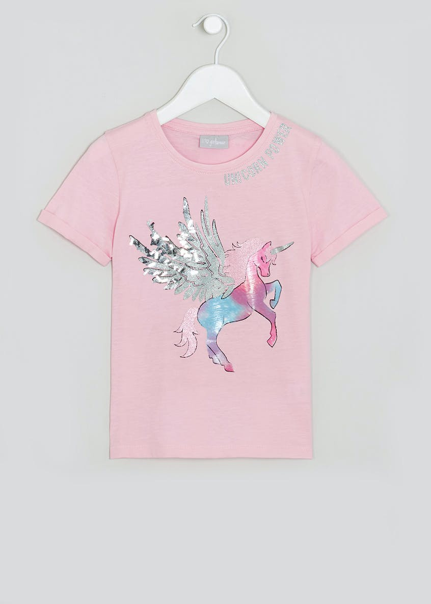 Girls Unicorn Power T-Shirt (4-13yrs)