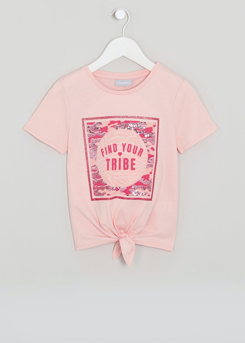 Girls Find Your Tribe Tie Front T-Shirt (4-13yrs)