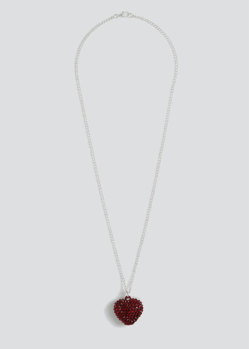 Girls Red Heart Sparkle Necklace