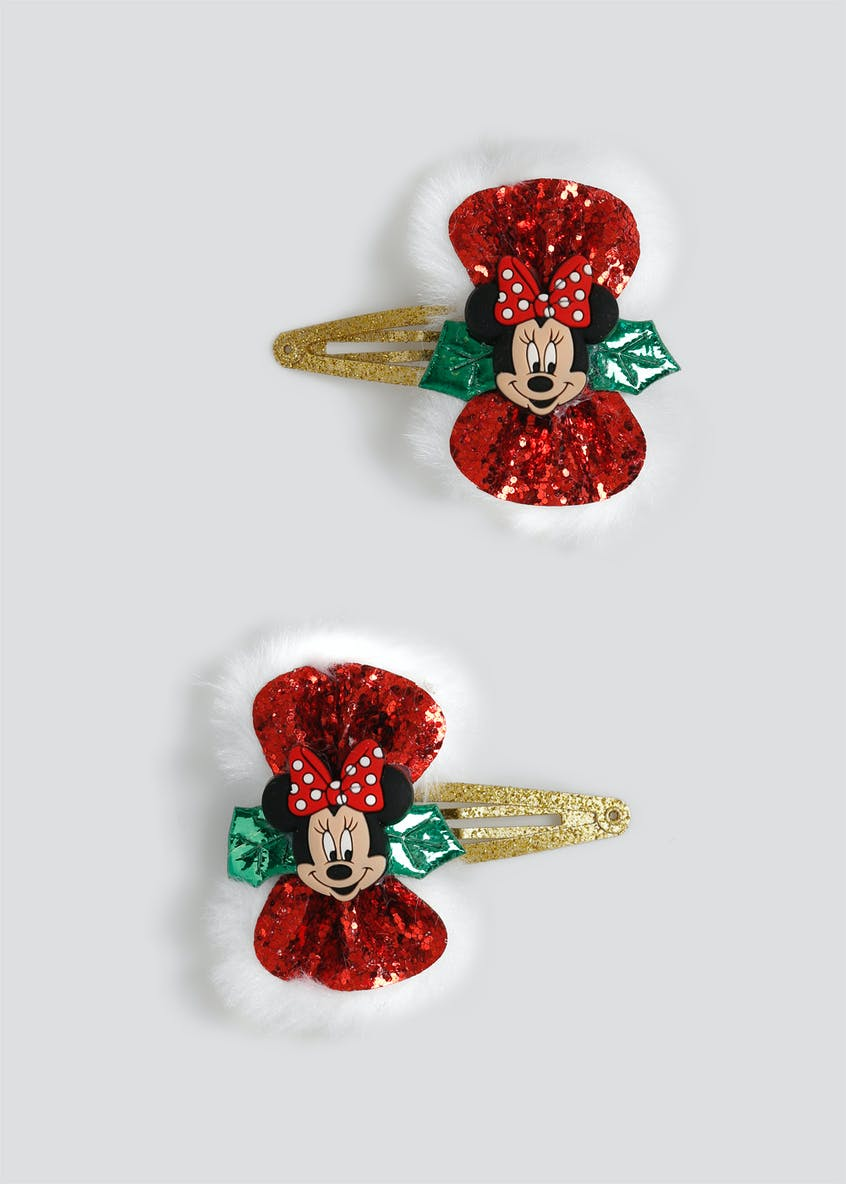 Girls 2 Pack Disney Minnie Mouse Christmas Hair Clips