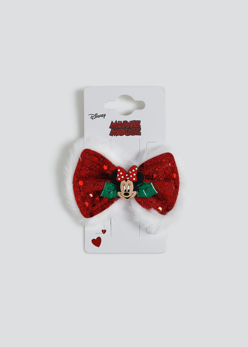 Girls Minnie Mouse Christmas Bow Hair Clip