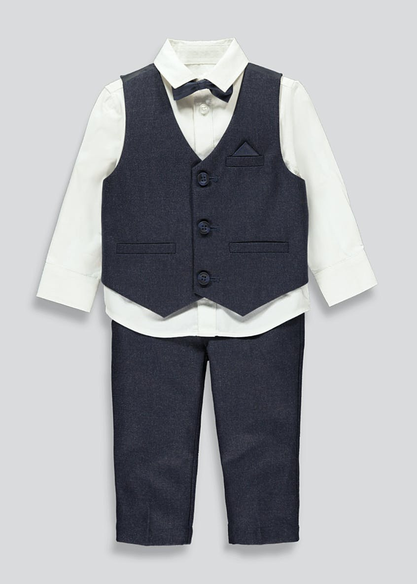 Boys 4 Piece Waistcoat And Trouser Set (9mths-6yrs)